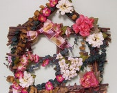 JUST REDUCED  House Frame Made from Twigs Floral Arrangement with Eucalyptus and Ribbon