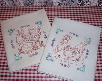 Embroidered Chicken Kitchen Towels