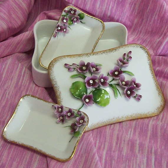 Lefton China Hand Painted Cigarette Box and 2 Ashtrays could be used for jewelry or as a trinket box.