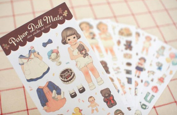 Paper doll mate (6 sheets) with outfits  - Paper Stickers