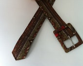Handmade Brown and Green Belt, Vintage Women's Belt, Ladies' Fabric Belt