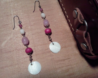 Pink and White Dangle Earrings, Women's Vintage Earrings, Stocking Stuffer, Christmas Gift, for Her