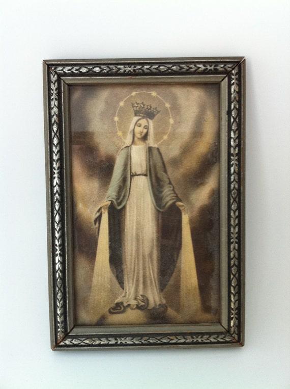 Three Framed Catholic Religious Antique Prints 1930s