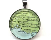 Vintage Map Pendant of Marseille, France, in Glass Tile Circle
