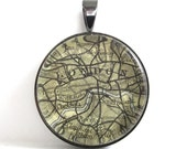 Vintage Map Pendant of London, England, in Glass Tile Circle