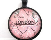 London, England, Pendant from Vintage Map, in Glass Tile Circle