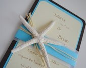 SEASIDE maritime STARFISH beach wedding invitation