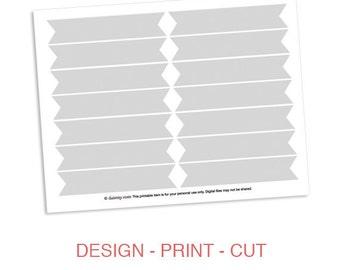 Cupcake Flag Printable Template - DIY Blank Make Your Own Party Cupcake Flag or Cake Flag Template for Cricut or Silhouette