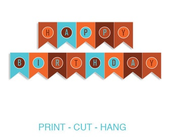 Listing: Pennant Banner Happy Bday Printable DIY PDF - Come Fly with Me Boys Birthday Party Transportation Airplane Theme