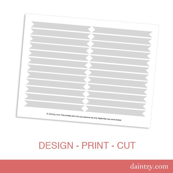Drinking Straw Flag Printable Template - DIY Make Your Own Party Drink Flags Template for Cricut or Silhouette
