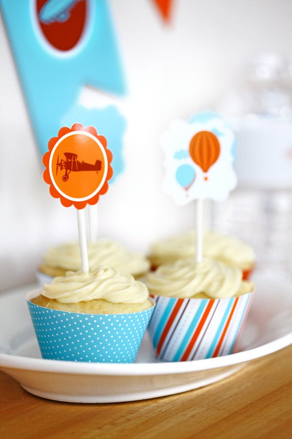 Cupcake Toppers Party Circles - Come Fly with Me Boys Birthday Party Transportation Airplane Theme by daintzy