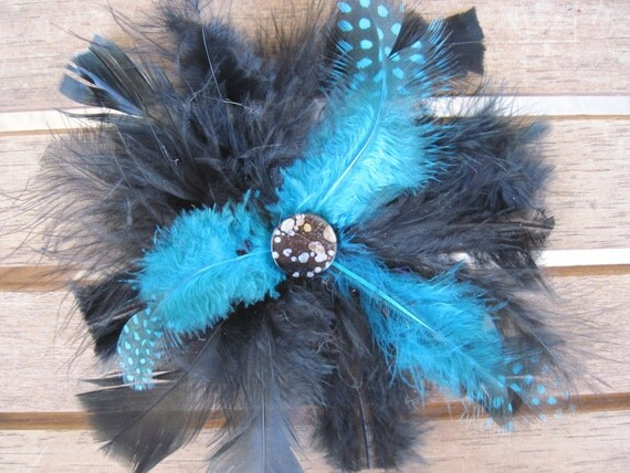 Black and blue feather flower hairclip or brooch