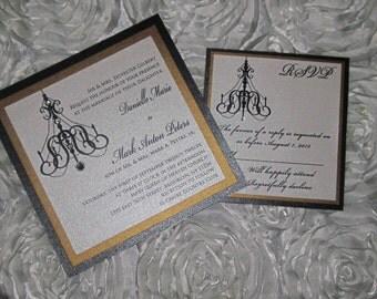 Chandelier Wedding Invitation, Black and Gold Wedding Invitation, Black Chandelier Wedding Invitation
