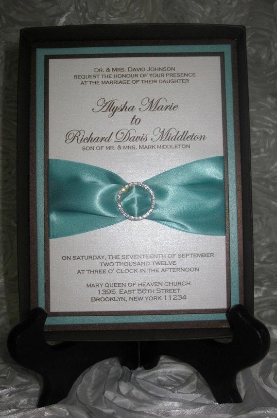 Aquamarine & Chocolate Brown Wedding Invitation, Robin Egg Blue and Brown Wedding Invitation, Aquamarine Wedding