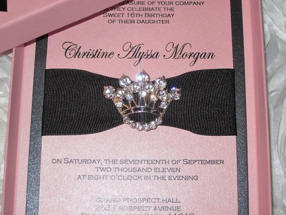 Sweet Sixteen Invitation Princess Crown Invitation Bat