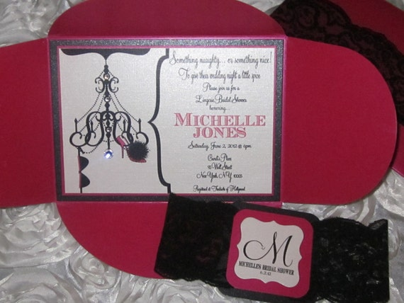 The Michelle - Sexy Chandelier, Bra, and Shoe Lingerie Bridal Shower Invitation