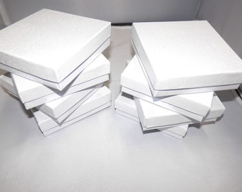 100 White Swirl Presentation Boxes Cotton Filled Jewelry  Gift Boxes Display Box 3.5x3.5