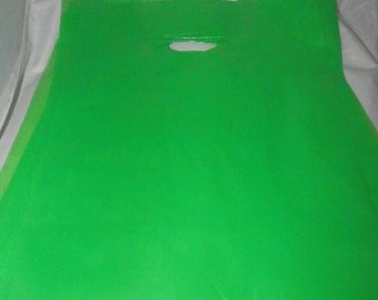 9 x 12 Lime Green Merchandise bags 100 pack Low Density Plastic Retail Merchandise Gift Bags