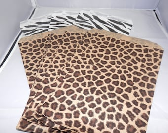 Lot of 50 6x9 Animal Print Merchandise Bags, Zebra Print, Leopard Print, Cheetah Print