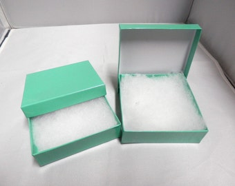 "pack of 50 3.5""x3.5""x1""  Teal Cotton filled Jewelry Presentation Display Gift Boxes"