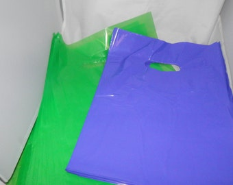 100 pack 9 x 12 Lime Green and Purple Glossy Retail Merchandise bags  Low Density Plastic Merchandise Gift Bags