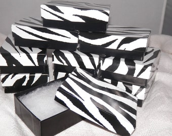 50 Zebra Print Gift Display Boxes size 3.25x2.25  Jewelry Presentation  Retail Cotton Filled Boxes