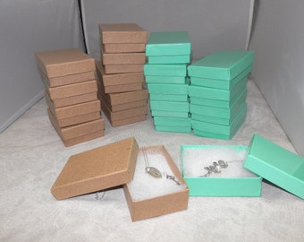 Kraft and Teal Gift and Retail Cotton Filled Presentation Jewelry boxes lot of 50  size 3.25X2.25