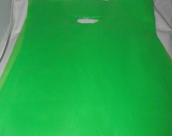 9 x 12 Lime Green Merchandise bags 50 pack Low Density Plastic Retail Merchandise Gift Bags