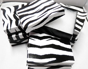 3.5x3.5 Zebra Print Jewelry Presentation Gift Boxes Cotton Filled Retail Boxess 20 pack