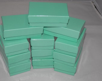 50 TEAL-BLUE Jewelry Boxes, Cotton filled presentation gift boxes,Display Boxes 2.5x1.5