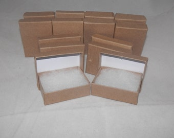 """Lot of 50 Kraft Cotton Filled  Jewelry Boxes 3.25""""x2.25""""x1"""""""