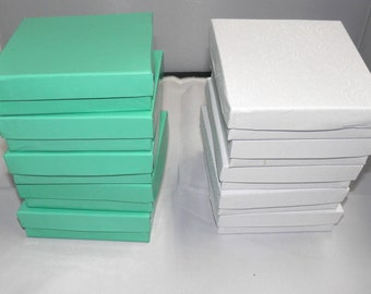 20 Swirl White and Teal Cotton Filled  Jewelry Presentation Retail Display Cotton Filled Gift Boxes, 3.5x3.5