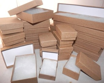 Lot of 100 Assorted Size, Kraft Cotton filled Jewelry Boxes