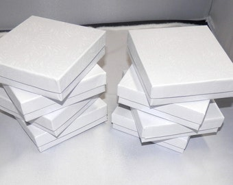 20 White Swirl Cotton Filled Jewelry Presentation Boxes Gift Boxes Display Box 3.5x3.5