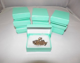 100 pack Cotton Filled Jewelry Presentation Gift Display Boxes  Glossy Teal Cotton Filled boxes size 2 1/8x1 5/8, Favor Boxes, Retail boxes,