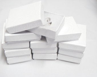 """100 White Presentation, Cotton Filled Jewelry Gift  Boxes Size 2 1/8"""" x 1 5/8"""""""