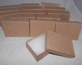"Lot of 20 Kraft Cotton Filled  Jewelry Boxes 3.25"" X 2.25"" x1"