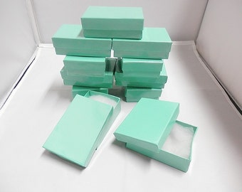 "Presentation Jewelry Gift Boxes Wholesale  50  Size 3.25""x2.25""x1""  Teal Cotton Filled boxes, Favor"
