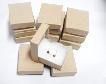 "Kraft 100 Cotton Filled Jewelry Presentation Boxes Gift Boxes, Display Boxes size 2 1/8""x1 5/8"""