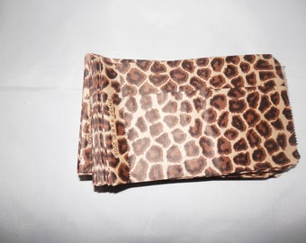 100 4x6 inch Leopard Print Gift Bags Merchandise Bags, Paper Bags, Party Treat Bags, Wedding Favor Animal Print Safari Bags, Small Favor bag