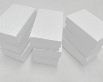 20 White Swirl Jewelry Boxes, Cotton filled presentation Gift Boxes, Retail Display Boxes 2.5x1.5
