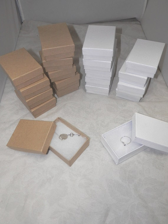 10 Pack Kraft and Swirl White Jewelry Presentation Gift boxes size 3.25x2.25, Cotton filled boxes