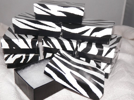 50 Zebra Print Gift Display Boxes size 3.25x2.25  Jewelry Presentation  Retail Cotton Filled Boxes