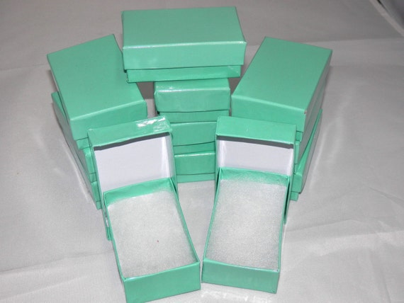 20 Teal Jewelry Boxes, Cotton filled presentation gift boxes,Display Boxes Retail Boxes 2.5x1.5