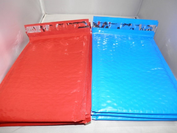 20 Ocean Blue and Strawberry Red size 0 6x9 Bubble Mailers, Colored Bubble Mailing Envelopes 10 each