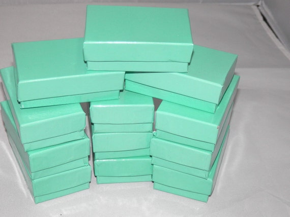 100 Teal Cotton filled Jewelry Boxes, Presentation Gift Boxes,Display Boxes, Retail Boxes 2.5x1.5