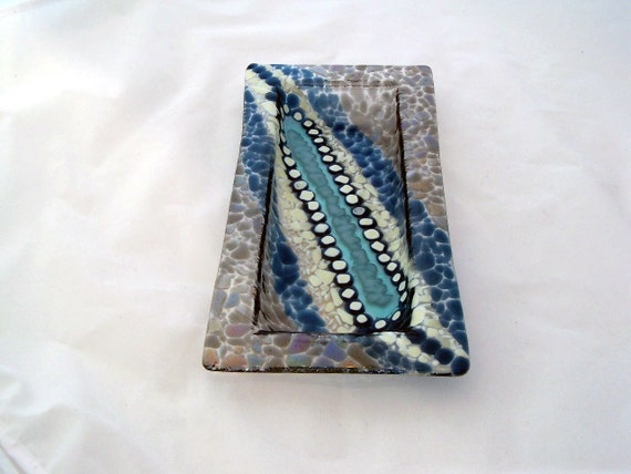 Ocean Rock Fused Glass Olive Tray & Snack Plate 2007