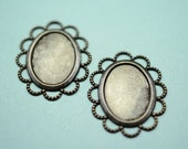 2 cameo setting 18x13 lace edge  in Black Brass -  finding for jewelry Box 139
