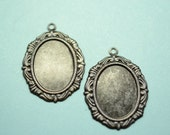 2 cameo setting 18x13 victorian  in Black Brass -  finding for jewelry Box 140
