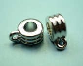 6 large hole round bails - charm bracelet bails - antique silver tone  -  finding for jewelry Box 338